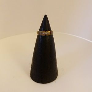 Jewelry - Small ring with 3 little inlaid stones, sz4.75